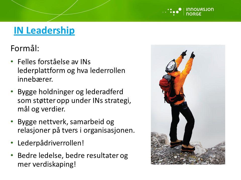 IN Leadership Formål: Felles forståelse av INs lederplattform og hva lederrollen innebærer. Bygge holdninger og lederadferd som støtter opp under INs