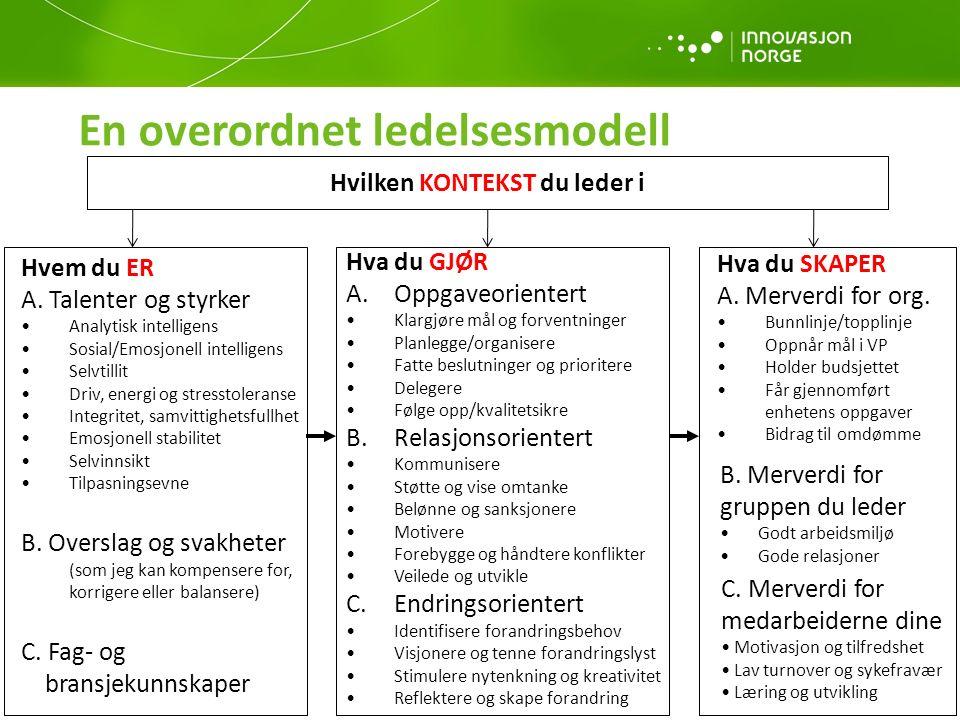 En overordnet ledelsesmodell 12 Hvem du ER A.
