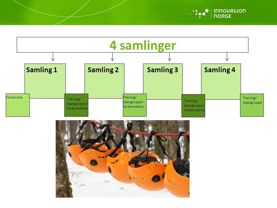 4 samlinger Samling 1Samling 2Samling 3Samling 4 ForberedeTrening/ basisgruppe/ forberedelse Trening/ basisgruppe/ forberedelse Trening/ basisgruppe/