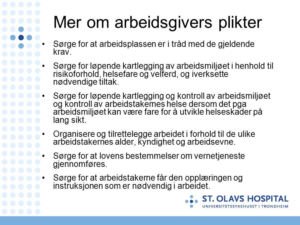 Mer om arbeidsgivers plikter Sørge for at arbeidsplassen er i tråd med de gjeldende krav.