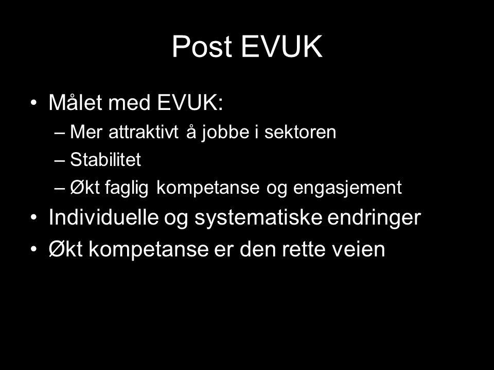 Post EVUK Målet med EVUK: –Mer attraktivt å jobbe i sektoren –Stabilitet –Økt faglig kompetanse og engasjement Individuelle og systematiske endringer Økt kompetanse er den rette veien
