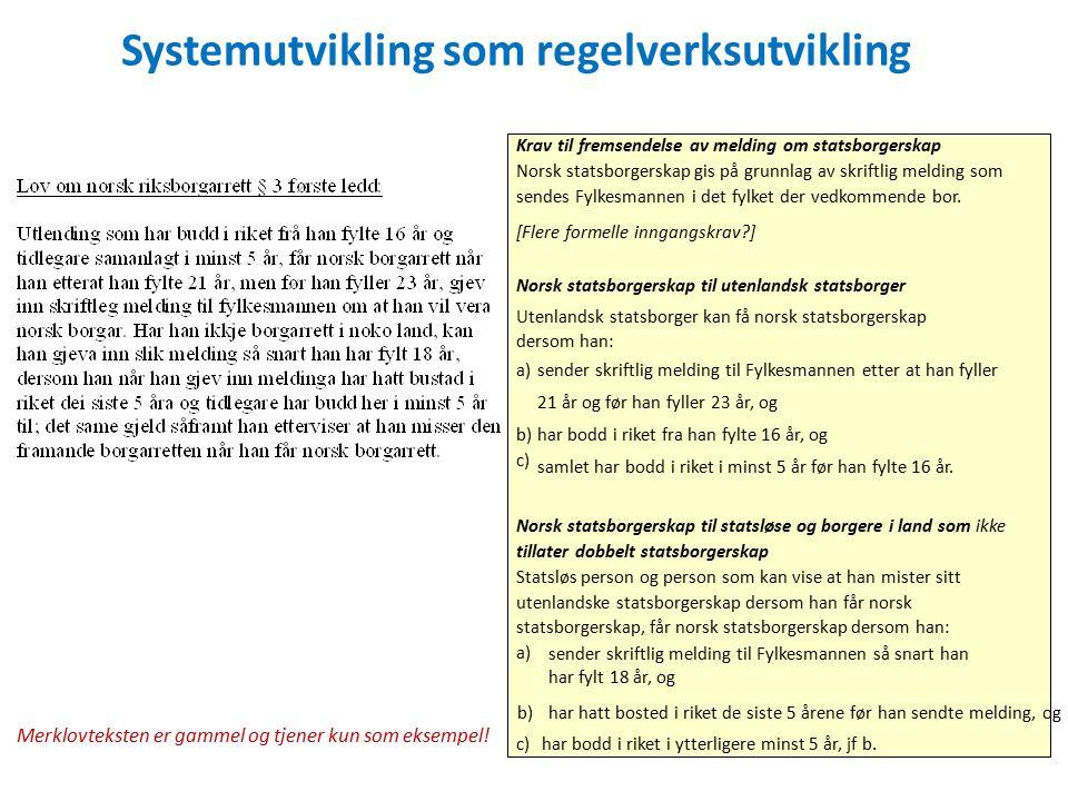 Systemutvikling som regelverksutvikling Krav til fremsendelse av melding om statsborgerskap Norsk statsborgerskap gis på grunnlag av skriftlig melding