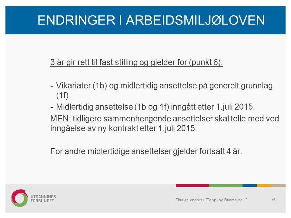 ENDRINGER I ARBEIDSMILJØLOVEN 3 år gir rett til fast stilling og gjelder for (punkt 6): -Vikariater (1b) og midlertidig ansettelse på generelt grunnlag (1f) -Midlertidig ansettelse (1b og 1f) inngått etter 1.juli 2015.