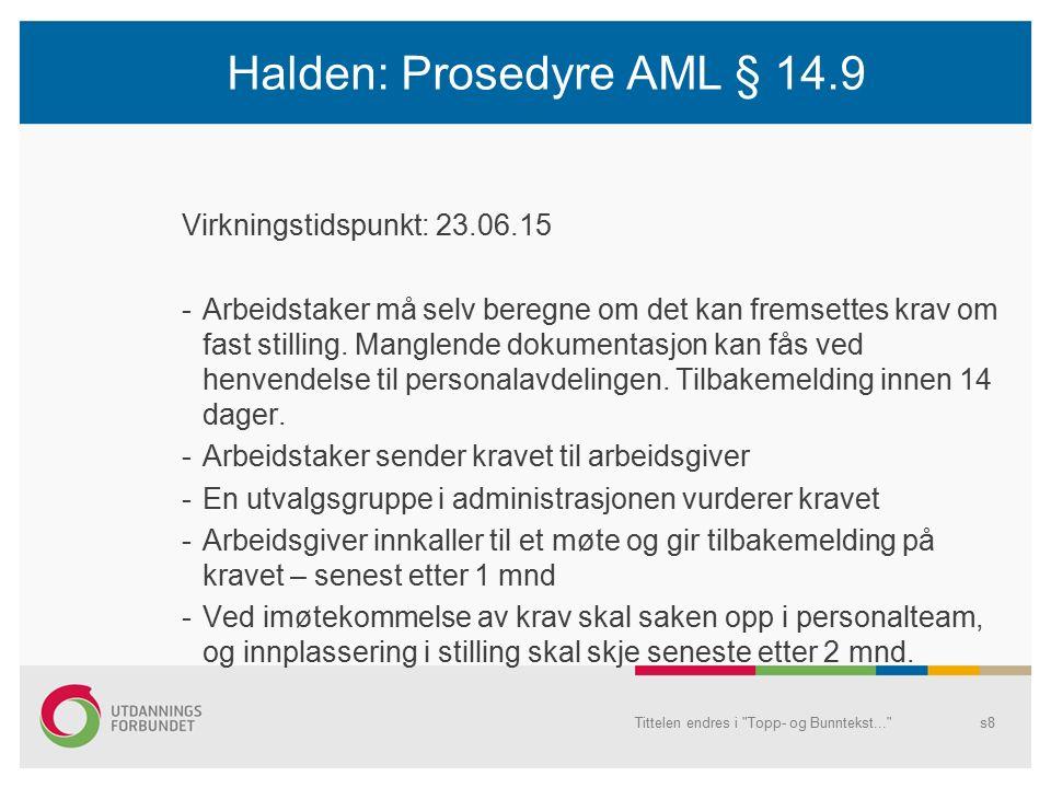 Halden: Prosedyre AML § 14.9 Virkningstidspunkt: 23.06.15 -Arbeidstaker må selv beregne om det kan fremsettes krav om fast stilling.