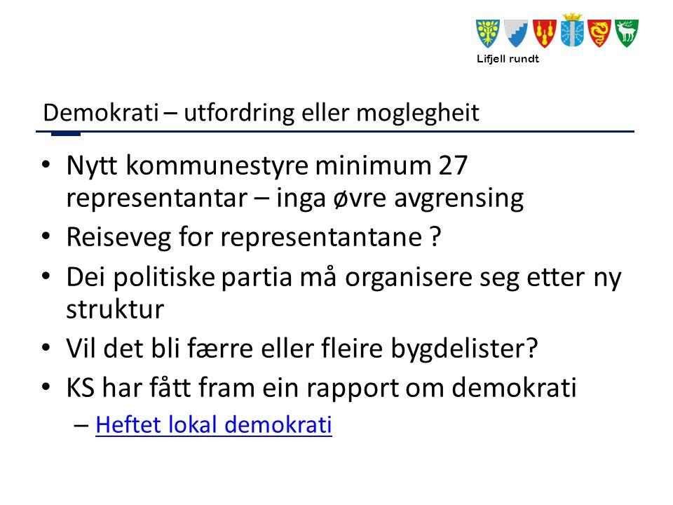 Lifjell rundt Demokrati – utfordring eller moglegheit Nytt kommunestyre minimum 27 representantar – inga øvre avgrensing Reiseveg for representantane .
