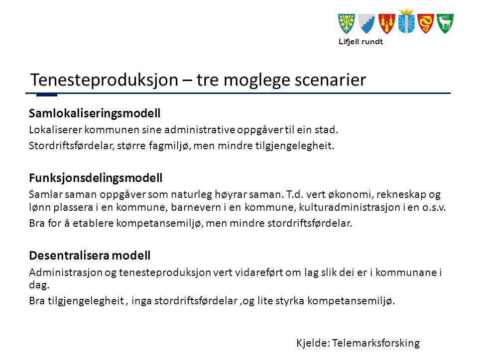 Lifjell rundt Tenesteproduksjon – tre moglege scenarier Samlokaliseringsmodell Lokaliserer kommunen sine administrative oppgåver til ein stad.