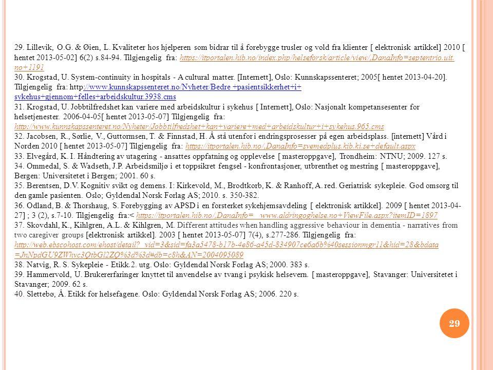 29 29. Lillevik, O.G. & Øien, L. Kvaliteter hos hjelperen som bidrar til å forebygge trusler og vold fra klienter [ elektronisk artikkel] 2010 [ hente