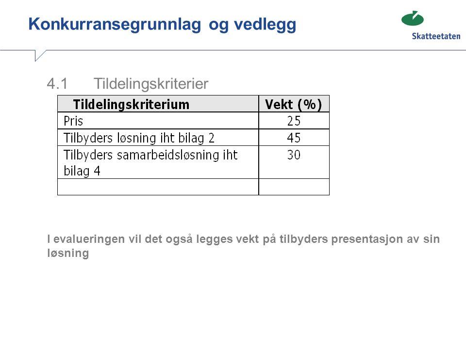 4.1 Tildelingskriterier I evalueringen vil det også legges vekt på tilbyders presentasjon av sin løsning