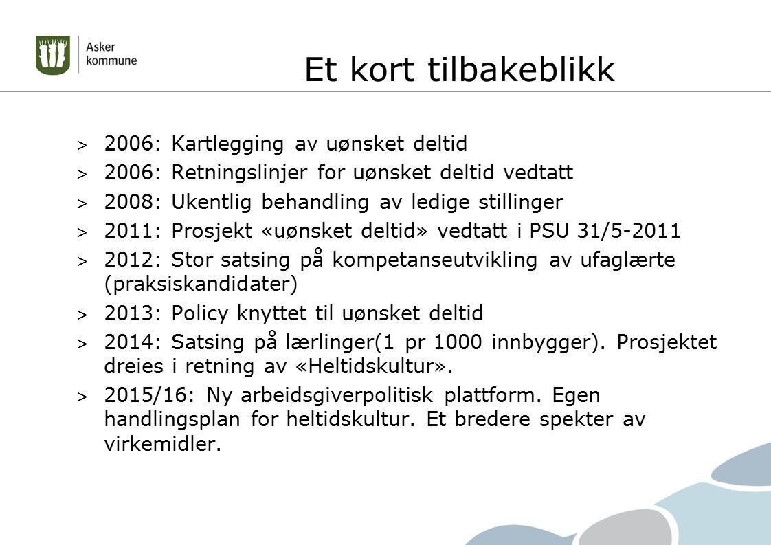 Et kort tilbakeblikk > 2006: Kartlegging av uønsket deltid > 2006: Retningslinjer for uønsket deltid vedtatt > 2008: Ukentlig behandling av ledige stillinger > 2011: Prosjekt «uønsket deltid» vedtatt i PSU 31/5-2011 > 2012: Stor satsing på kompetanseutvikling av ufaglærte (praksiskandidater) > 2013: Policy knyttet til uønsket deltid > 2014: Satsing på lærlinger(1 pr 1000 innbygger).
