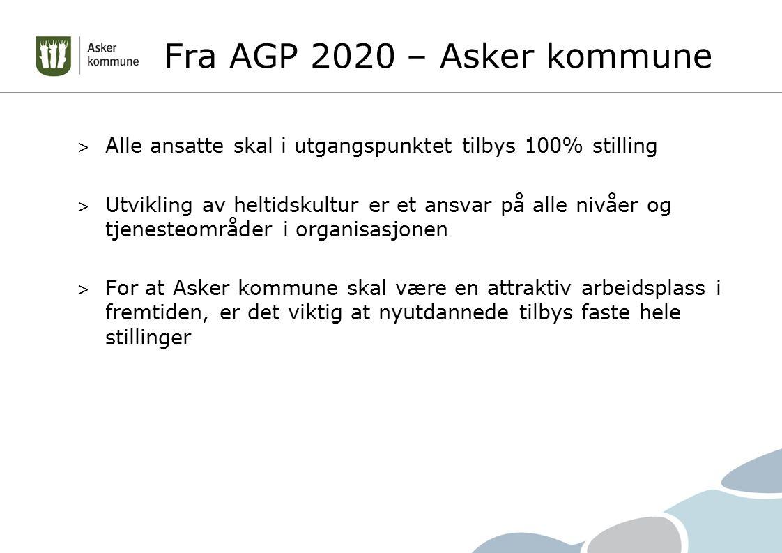 Fra AGP 2020 – Asker kommune > Alle ansatte skal i utgangspunktet tilbys 100% stilling > Utvikling av heltidskultur er et ansvar på alle nivåer og tjenesteområder i organisasjonen > For at Asker kommune skal være en attraktiv arbeidsplass i fremtiden, er det viktig at nyutdannede tilbys faste hele stillinger