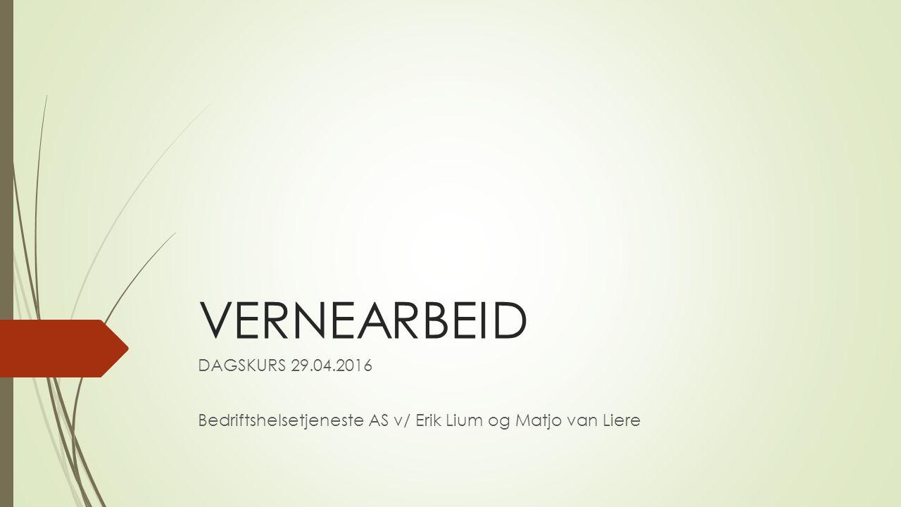 VERNEARBEID DAGSKURS 29.04.2016 Bedriftshelsetjeneste AS v/ Erik Lium og Matjo van Liere