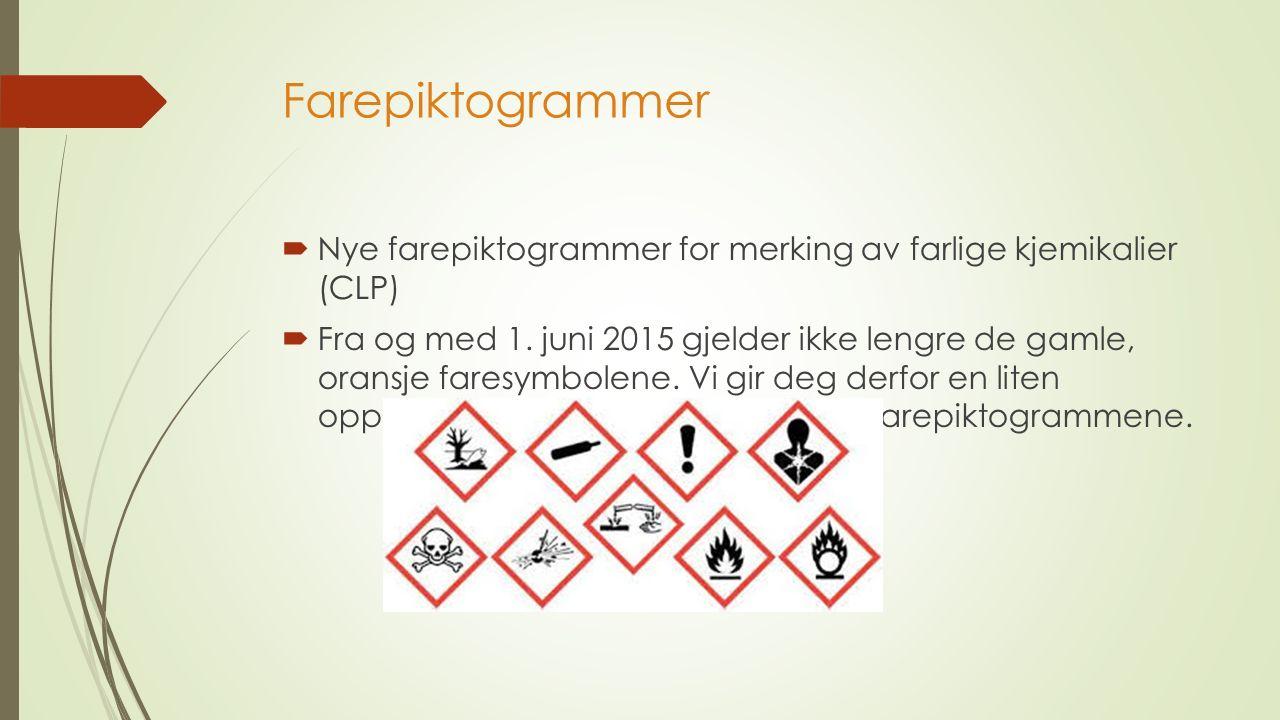 Farepiktogrammer  Nye farepiktogrammer for merking av farlige kjemikalier (CLP)  Fra og med 1.