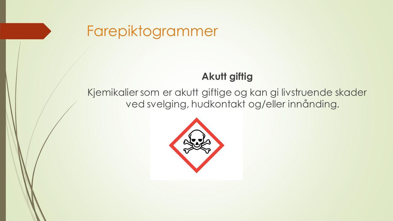 Farepiktogrammer Akutt giftig Kjemikalier som er akutt giftige og kan gi livstruende skader ved svelging, hudkontakt og/eller innånding.