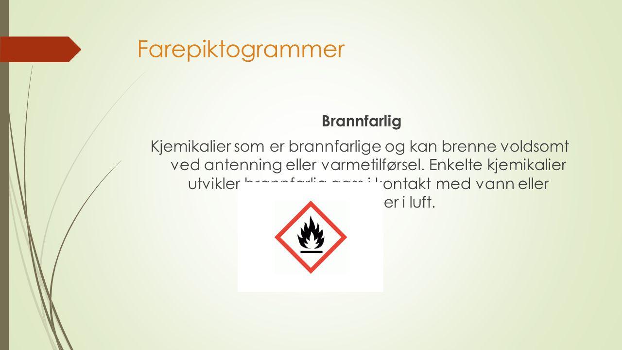 Farepiktogrammer Brannfarlig Kjemikalier som er brannfarlige og kan brenne voldsomt ved antenning eller varmetilførsel.