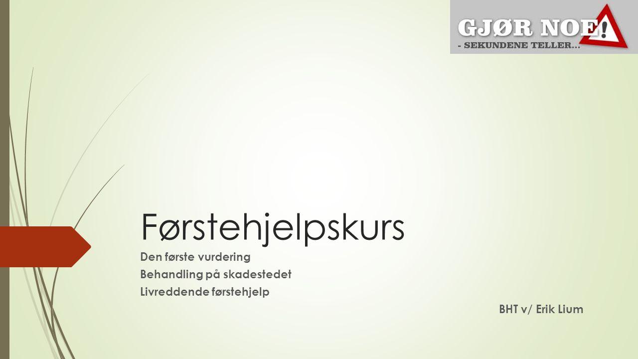 Førstehjelpskurs Den første vurdering Behandling på skadestedet Livreddende førstehjelp BHT v/ Erik Lium