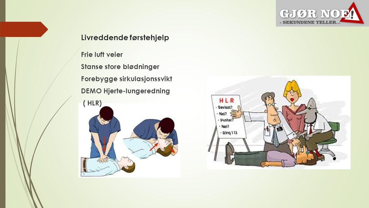 Livreddende førstehjelp Frie luft veier Stanse store blødninger Forebygge sirkulasjonssvikt DEMO Hjerte-lungeredning ( HLR)