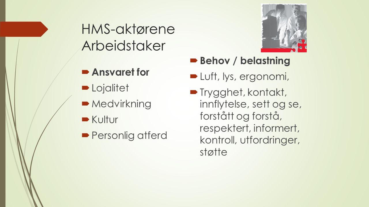 HMS-aktørene Arbeidstaker  Ansvaret for  Lojalitet  Medvirkning  Kultur  Personlig atferd  Behov / belastning  Luft, lys, ergonomi,  Trygghet, kontakt, innflytelse, sett og se, forstått og forstå, respektert, informert, kontroll, utfordringer, støtte