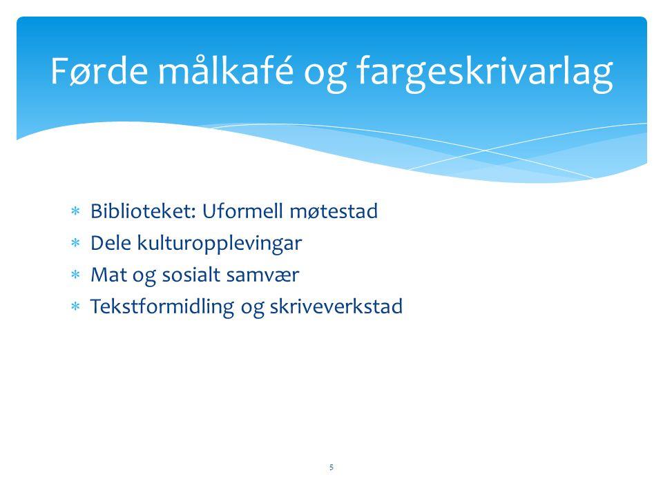  Biblioteket: Uformell møtestad  Dele kulturopplevingar  Mat og sosialt samvær  Tekstformidling og skriveverkstad 5 Førde målkafé og fargeskrivarlag