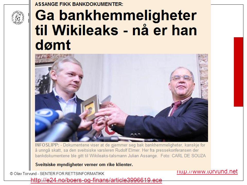 © Olav Torvund - SENTER FOR RETTSINFORMATIKK UNIVERSITETET I OSLO http://www.torvund.net http://e24.no/boers-og-finans/article3996619.ece