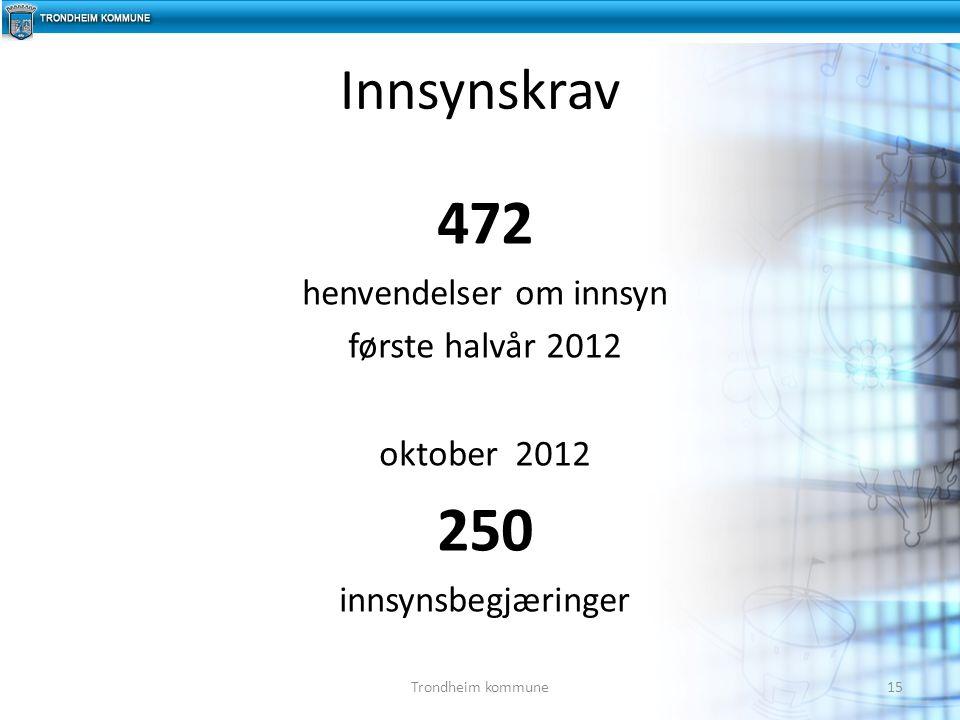 472 henvendelser om innsyn første halvår 2012 oktober 2012 250 innsynsbegjæringer Innsynskrav 15Trondheim kommune