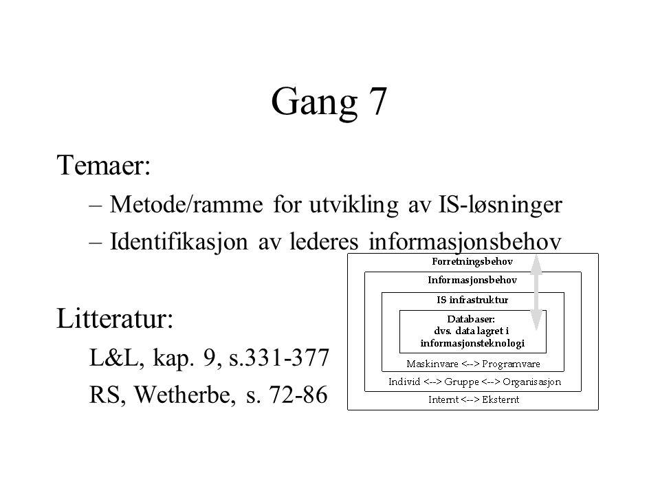 Gang 7 Temaer: –Metode/ramme for utvikling av IS-løsninger –Identifikasjon av lederes informasjonsbehov Litteratur: L&L, kap.