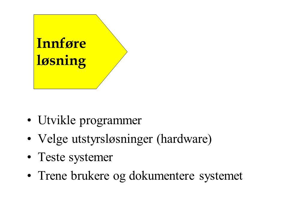 Utvikle programmer Velge utstyrsløsninger (hardware) Teste systemer Trene brukere og dokumentere systemet Innføre løsning