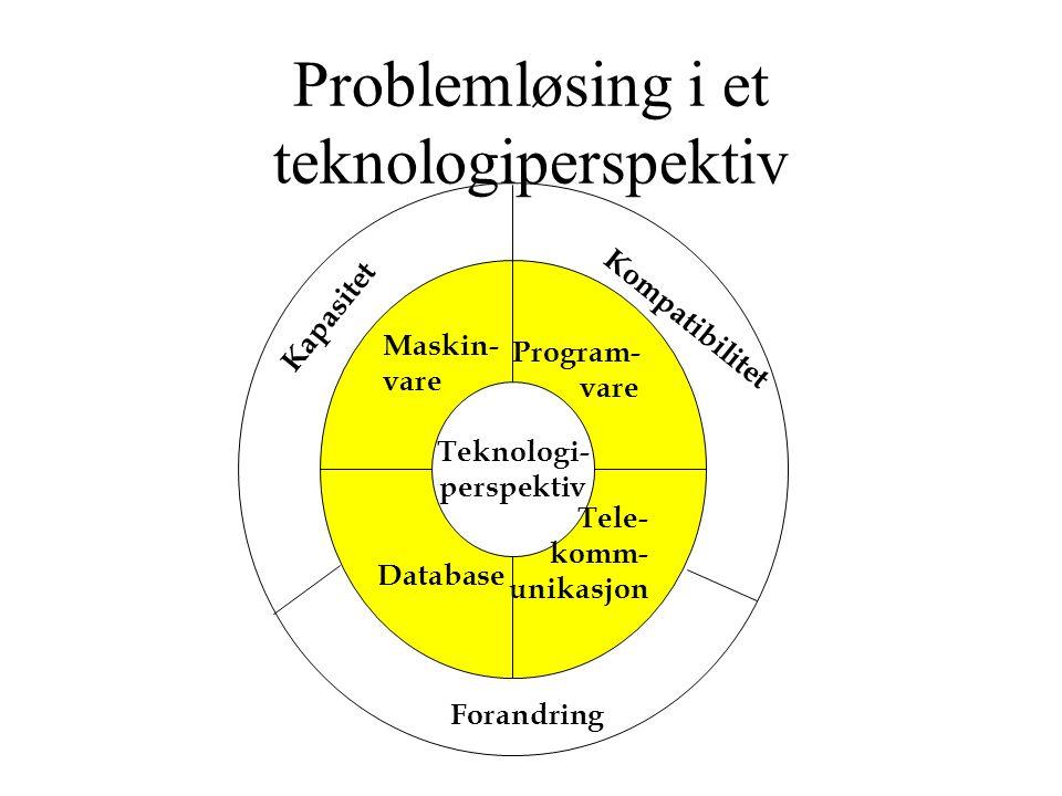 Problemløsing i et teknologiperspektiv Teknologi- perspektiv Maskin- vare Program- vare Tele- komm- unikasjon Database Kilde: Laudon & Laudon.