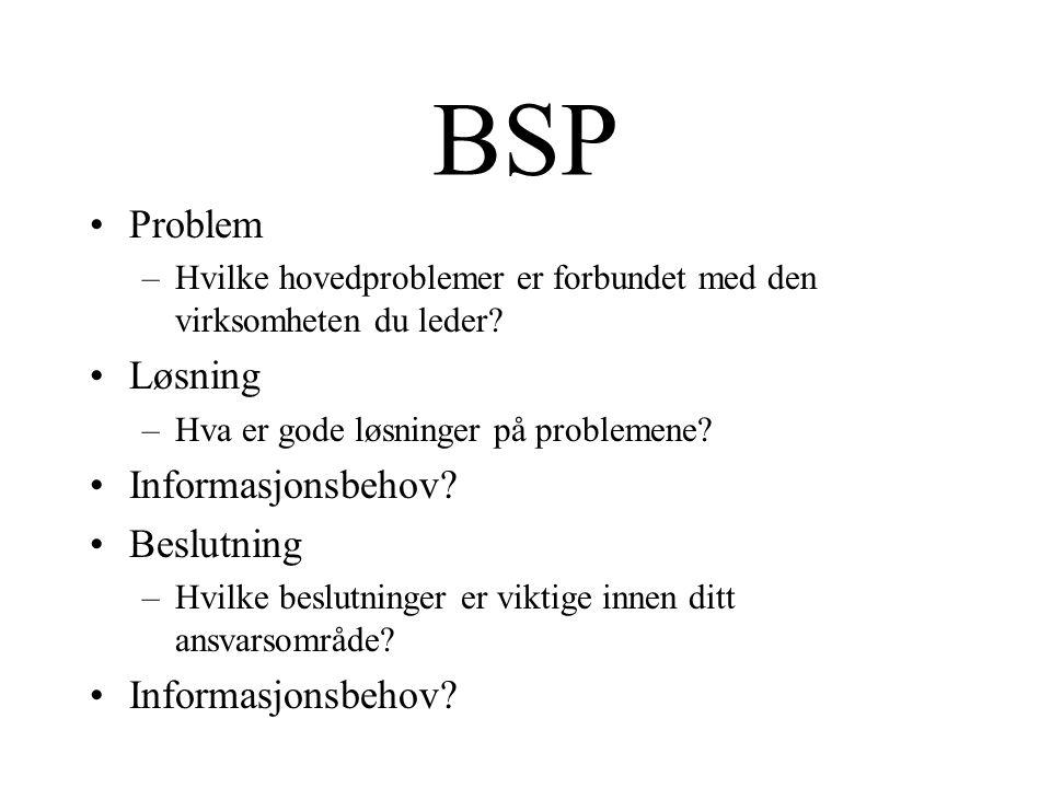 BSP Problem –Hvilke hovedproblemer er forbundet med den virksomheten du leder.