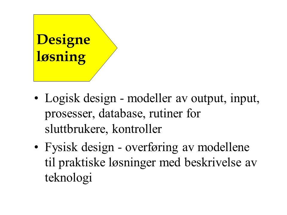 Logisk design - modeller av output, input, prosesser, database, rutiner for sluttbrukere, kontroller Fysisk design - overføring av modellene til praktiske løsninger med beskrivelse av teknologi Designe løsning