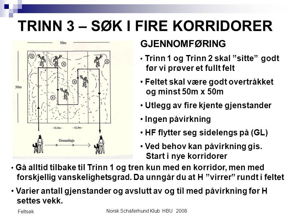 """Norsk Schäferhund Klub HBU 2008 Feltsøk TRINN 3 – SØK I FIRE KORRIDORER GJENNOMFØRING Trinn 1 og Trinn 2 skal """"sitte"""" godt før vi prøver et fullt felt"""