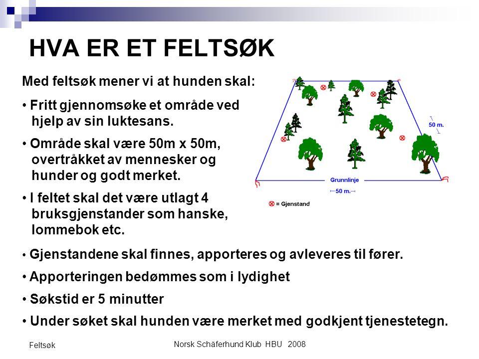 Norsk Schäferhund Klub HBU 2008 Feltsøk HVA ER ET FELTSØK Gjenstandene skal finnes, apporteres og avleveres til fører. Apporteringen bedømmes som i ly
