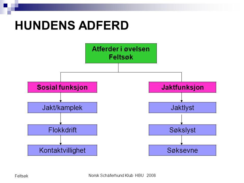 Norsk Schäferhund Klub HBU 2008 Feltsøk HUNDENS ADFERD Atferder i øvelsen Feltsøk Sosial funksjonJaktfunksjon Jakt/kamplekJaktlyst FlokkdriftSøkslyst