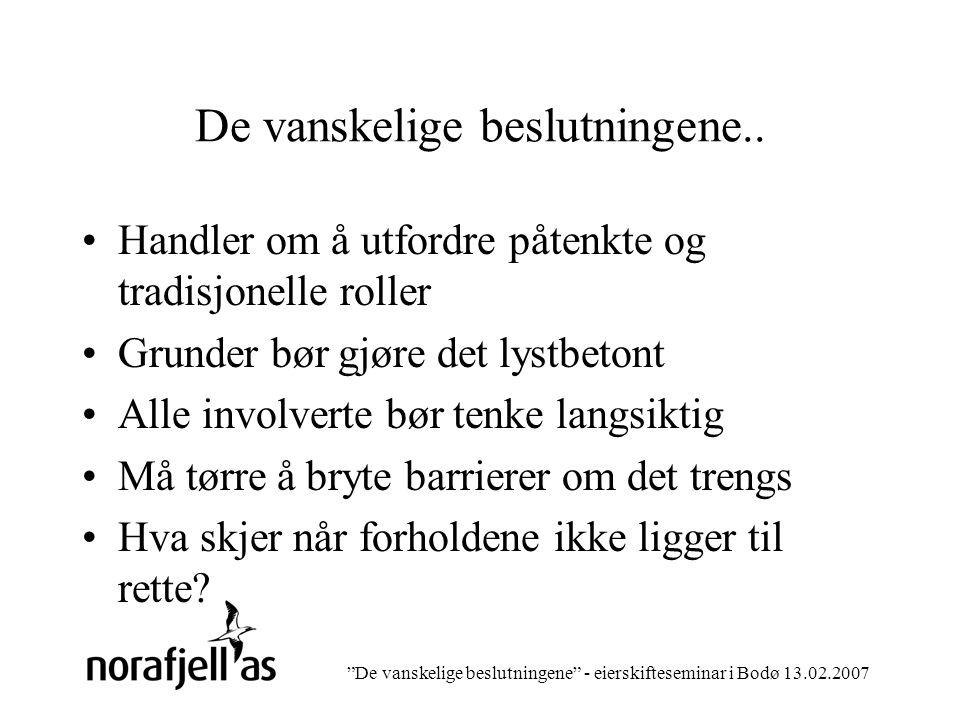 De vanskelige beslutningene - eierskifteseminar i Bodø 13.02.2007 Verden utenfor….