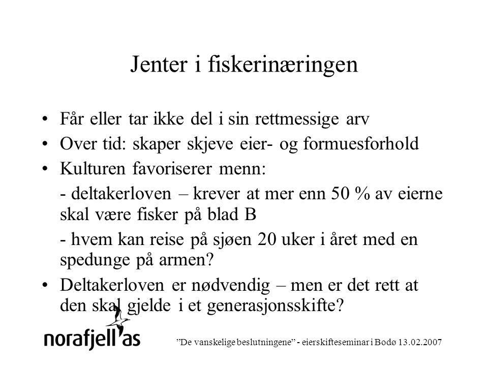 De vanskelige beslutningene - eierskifteseminar i Bodø 13.02.2007 De vanskelige beslutningene..