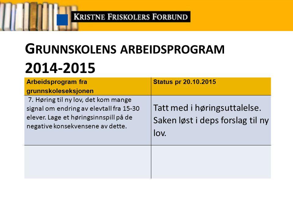 G RUNNSKOLENS ARBEIDSPROGRAM 2014-2015 Arbeidsprogram fra grunnskoleseksjonen Status pr 20.10.2015 7.
