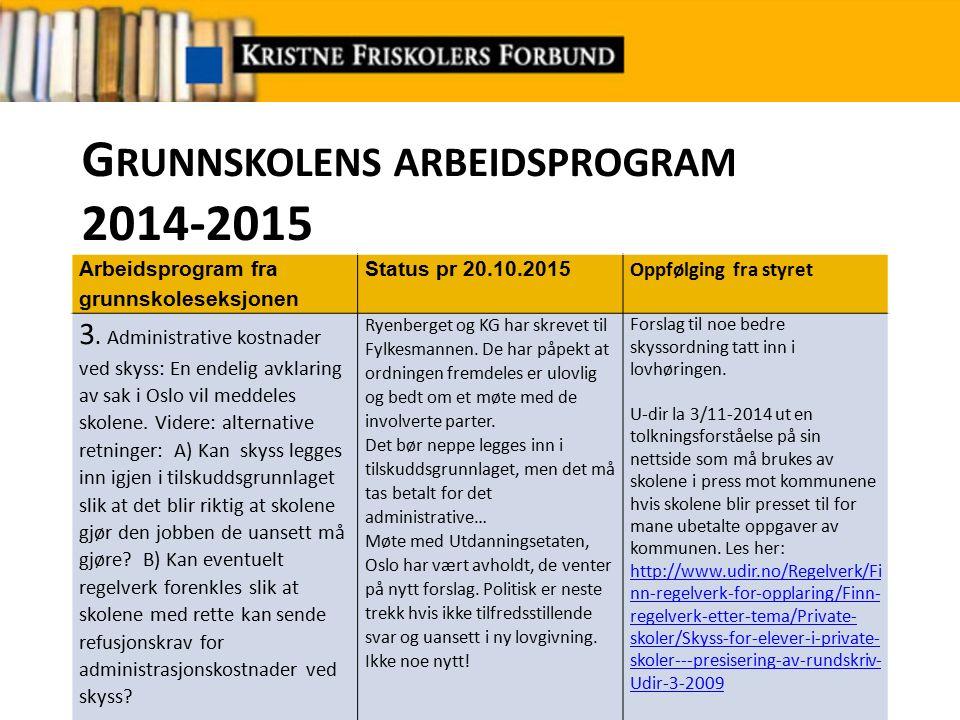G RUNNSKOLENS ARBEIDSPROGRAM 2014-2015 Arbeidsprogram fra grunnskoleseksjonen Status pr 20.10.2015 Forslag til styret til oppfølging 4.