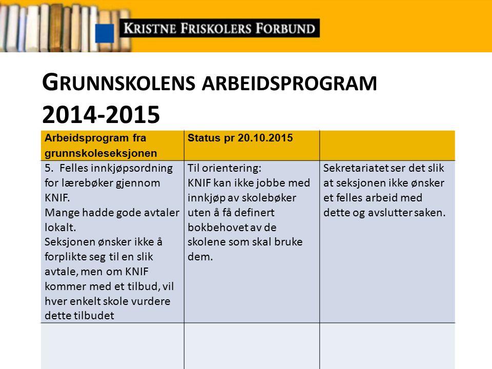 G RUNNSKOLENS ARBEIDSPROGRAM 2014-2015 Arbeidsprogram fra grunnskoleseksjonen Status pr 20.10.2015 6.