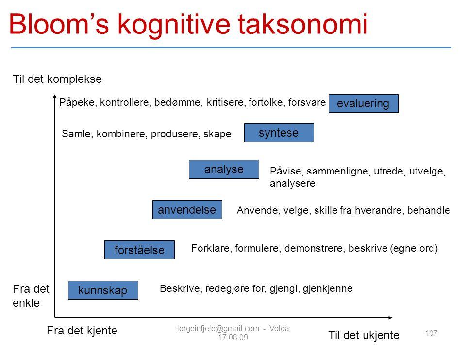 torgeir.fjeld@gmail.com - Volda 17.08.09 Til det ukjente Til det komplekse Fra det kjente Fra det enkle kunnskap forståelse anvendelse analyse syntese