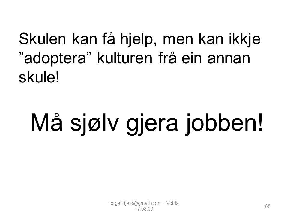 """torgeir.fjeld@gmail.com - Volda 17.08.09 88 Skulen kan få hjelp, men kan ikkje """"adoptera"""" kulturen frå ein annan skule! Må sjølv gjera jobben!"""