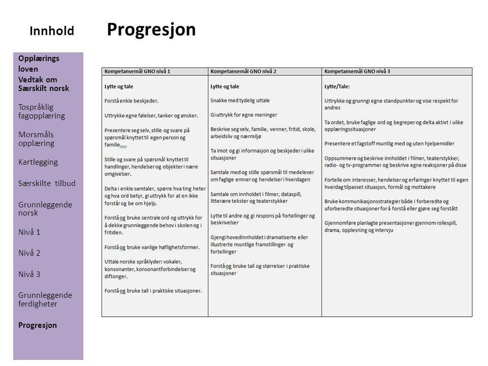 Innhold Progresjon Opplærings loven Vedtak om Særskilt norsk Tospråklig fagopplæring Morsmåls opplæring Kartlegging Særskilte tilbud Grunnleggende nor