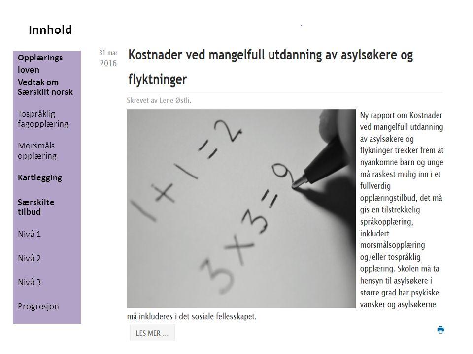Innhold Opplærings loven Vedtak om Særskilt norsk Tospråklig fagopplæring Morsmåls opplæring Kartlegging Særskilte tilbud Nivå 1 Nivå 2 Nivå 3 Progresjon