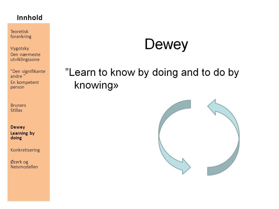 "Innhold Teoretisk forankring Vygotsky Den nærmeste utviklingssone ""Den signifikante andre "" En kompetent person Bruners Stillas Dewey Learning by doin"