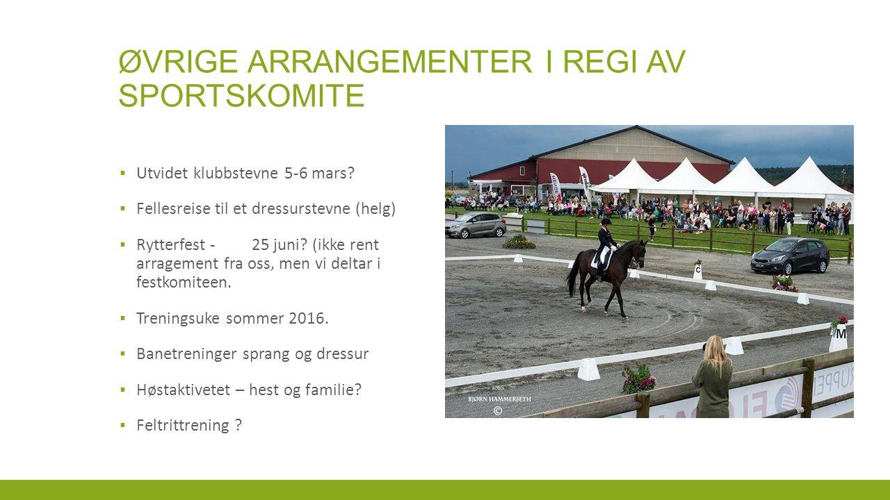 ØVRIGE ARRANGEMENTER I REGI AV SPORTSKOMITE ▪ Utvidet klubbstevne 5-6 mars.