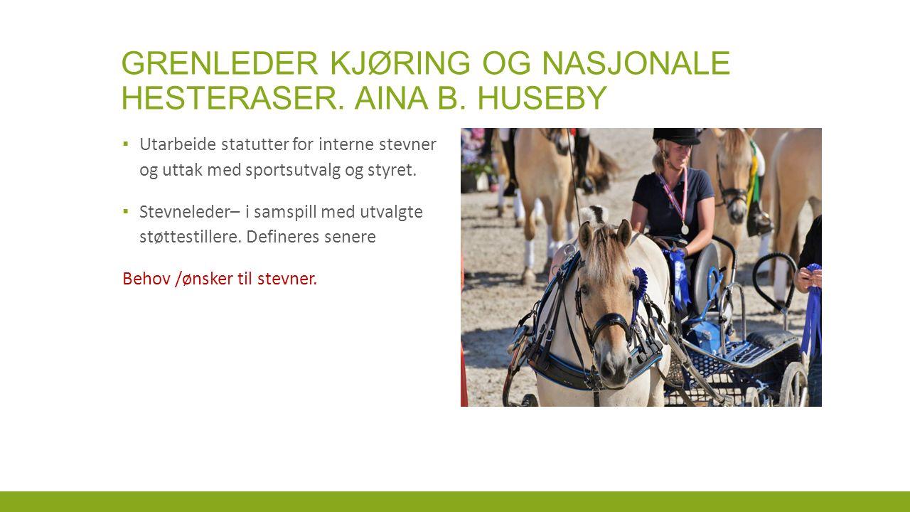GRENLEDER KJØRING OG NASJONALE HESTERASER. AINA B.