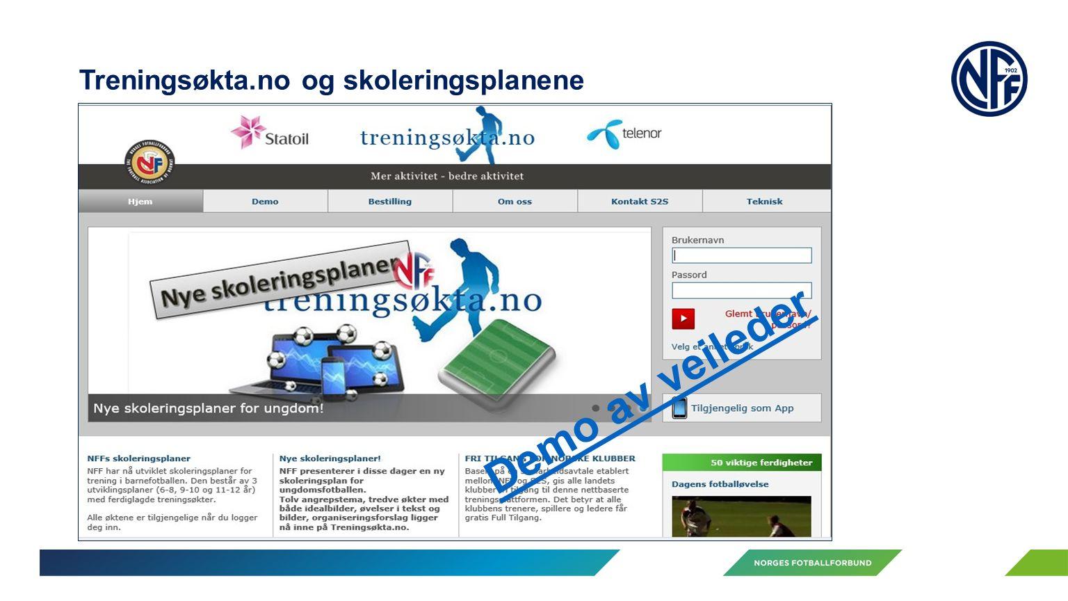 Treningsøkta.no og skoleringsplanene Demo av veileder