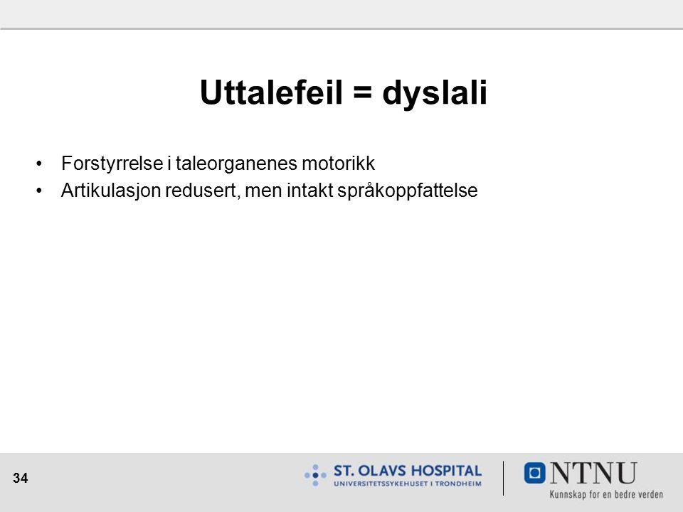 34 Uttalefeil = dyslali Forstyrrelse i taleorganenes motorikk Artikulasjon redusert, men intakt språkoppfattelse