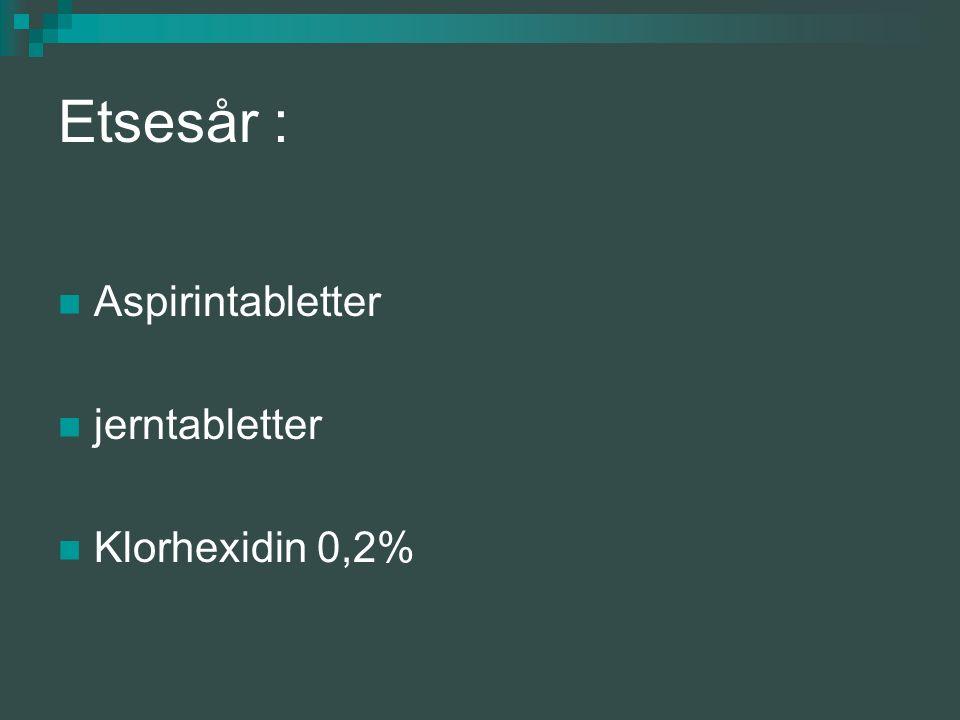 Etsesår : Aspirintabletter jerntabletter Klorhexidin 0,2%