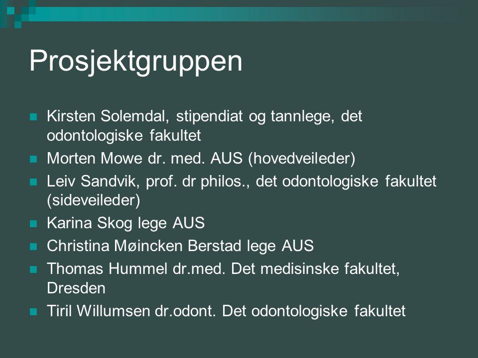 Prosjektgruppen Kirsten Solemdal, stipendiat og tannlege, det odontologiske fakultet Morten Mowe dr.