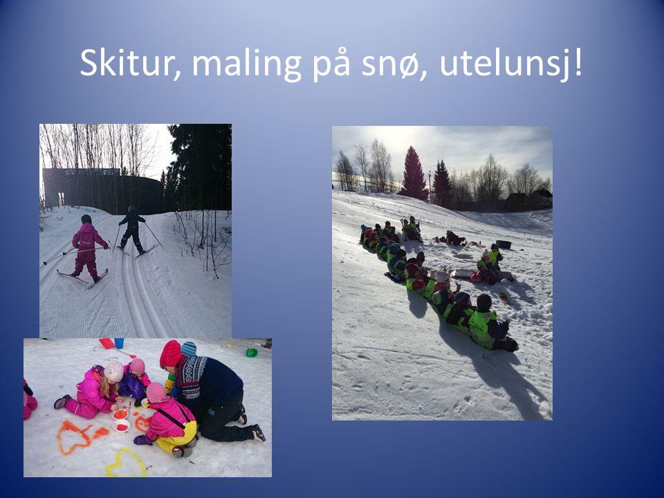 Skitur, maling på snø, utelunsj!