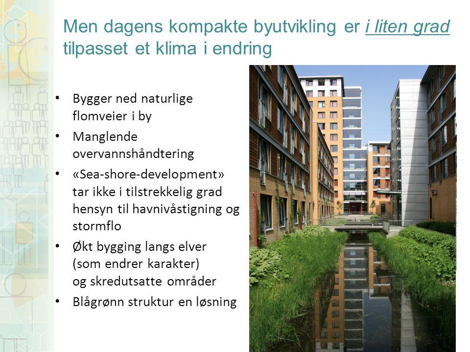 Bygger ned naturlige flomveier i by Manglende overvannshåndtering «Sea-shore-development» tar ikke i tilstrekkelig grad hensyn til havnivåstigning og stormflo Økt bygging langs elver (som endrer karakter) og skredutsatte områder Blågrønn struktur en løsning Men dagens kompakte byutvikling er i liten grad tilpasset et klima i endring
